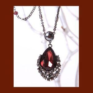 WHBM Grenadine Glass Stone Pendant Necklace